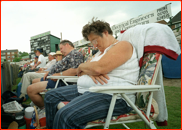 Slumbering spectators at a county game, Southampton