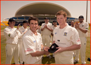 Captain Will Smith presents Ben Stokes with his cap, UAE