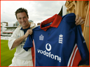 Andrew Strauss shows off his first England shirt at Lord's