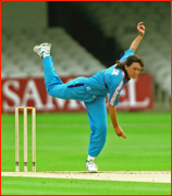 Clare Taylor bowling.