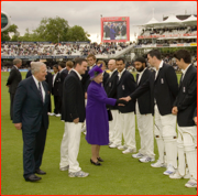 The Queen meets the England Team at Lord's.
