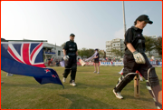 The New Zealand openers walk out to bat against England at Hove.