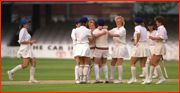 England celebrate a wicket in the 1993 World Cup.