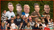 Spectators wearing masks of Worcestershire players