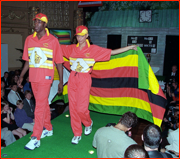 Models wearing the Zimbabwe strip, 1999 World Cup.